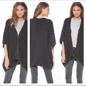 Vince cable knit charcoal grey poncho M